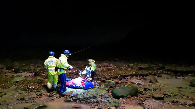 Several agencies were involved in the rescue operation. Pic: Staithes Coastguard