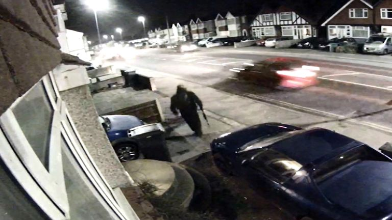 A CCTV screengrab shows Savage leaving a house in St Leonards of the night of the killings