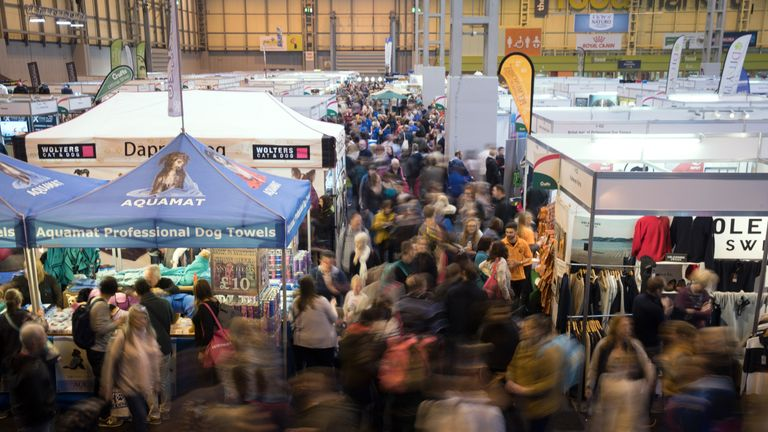 Crowds move around the trade stalls on the third day of Crufts Dog Show at the NEC Arena on March 11, 2017 in Birmingham, England