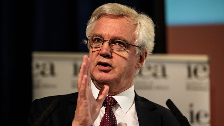 LONDON, ENGLAND - SEPTEMBER 24: Former Brexit Secretary David Davis MP speaks at an Institute of Economic Affairs (IEA) panel discussion to launch their latest Brexit report at One Whitehall Place on September 24, 2018 in London, England. The IEA think thank today puts forward their proposal for Brexit negotiations as an alternative to British Prime Minister Theresa Mays Chequers plan. (Photo by Jack Taylor/Getty Images)