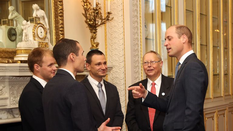 The Duke of Cambridge, with (left to right) Connor Roe, Chris Jewell, Jim Warny and Rob Harper, as he hosts a reception at Buckingham Palace in London for the British divers who helped rescue 12 trapped boys from a cave in Thailand. PRESS ASSOCIATION Photo. Picture date: Tuesday October 16, 2018. See PA story ROYAL Divers. Photo credit should read: Jon Bond/The Sun/PA Wire