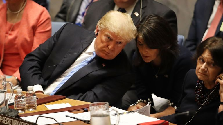 Mr Trump and Ms Haley at a United Nations Security Council meeting in New York