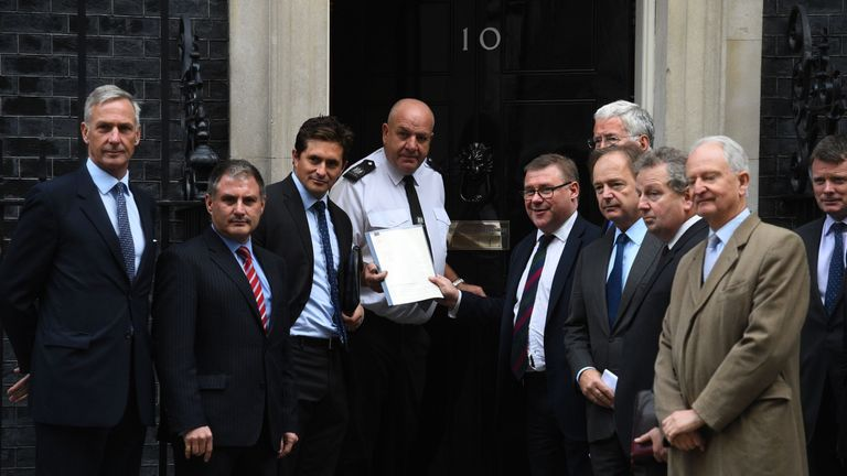 Mark Francois joins other MPs to hand in a petition to 10 Downing Street