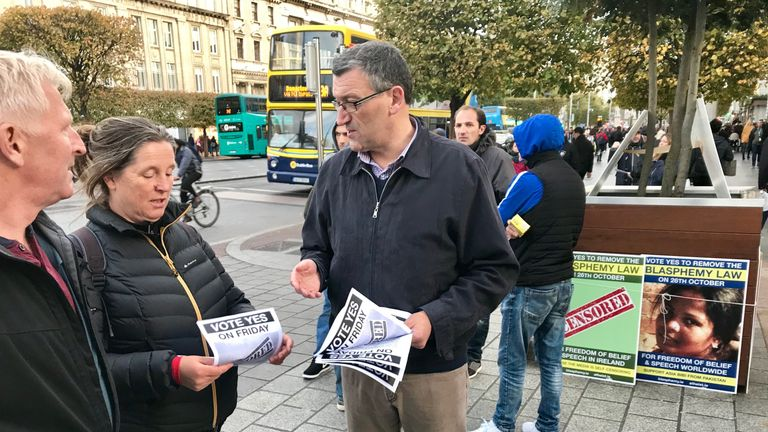 Campaigners from Atheist Ireland in Dublin