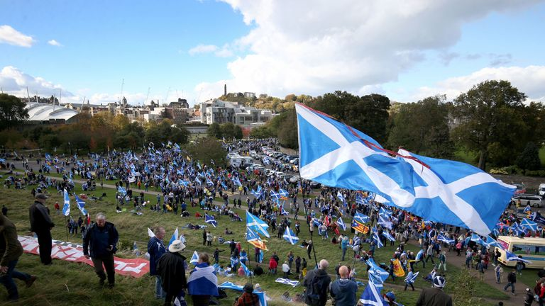 The march saw tens of thousands of people rally through Edinburgh