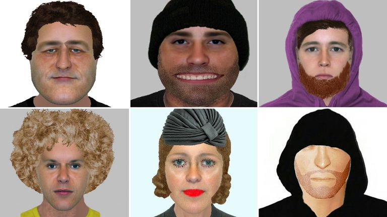 Sky News assembles some of the most memorable police e-fits from recent years