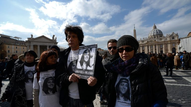 Pietro, brother of Emanuela Orlandi, and other relatives at a demonstration at the Vatican in 2013