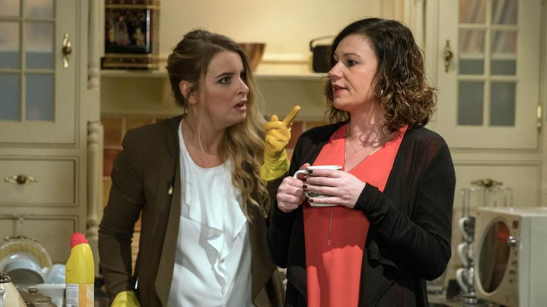 Charity Dingle (Emma Atkins) and Chas Dingle (Lucy Pargeter) in Emmerdale. Pic: ITV/REX/Shutterstock