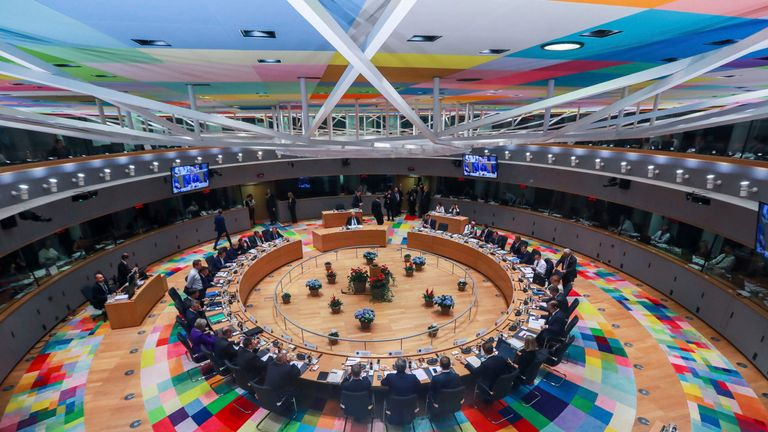 European Union leaders attend a round table meeting at an EU summit in Brussels