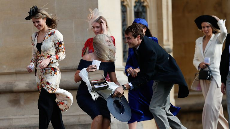 It was a windy wedding for Princess Eugenie's guests.