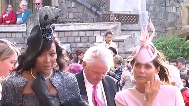 Demi Moore and Naomi Campbell arrive arrive at Princess Eugenie's wedding.