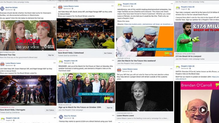 Ahead of the People's Vote march, Sky News has learned how the number of Remain adverts outnumber the opposition on social media.