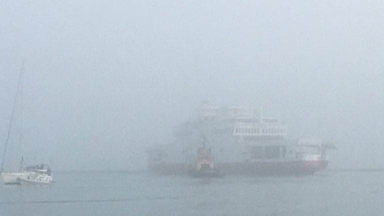 The ferry appears to ran aground in fog. Pic: Adi Imsirovic
