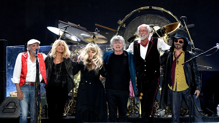 John McVie, Christine McVie, Stevie Nicks, Neil Finn, Mick Fleetwood, and Mike Campbell of Fleetwood Mac perform onstage during the 2018 iHeartRadio Music Festival at T-Mobile Arena on September 21, 2018 in Las Vegas, Nevada