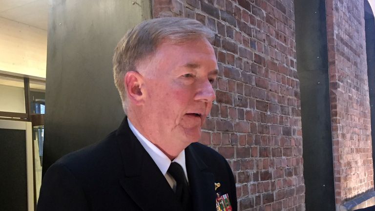 U.S. Admiral James G. Foggo, Commander of the NATO Trident Juncture exercise, speaks to the media in Oslo, Norway October 25
