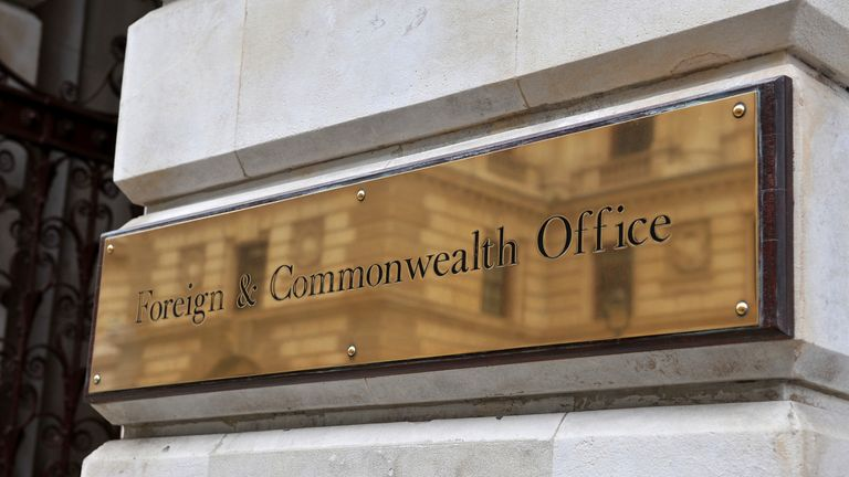 A stock picture of a general view of the sign on the Foreign Office in central London.