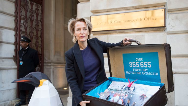 Gillian Anderson delivers the 350,000-strong petition to the Foreign Office calling on the government to protect the Antarctic