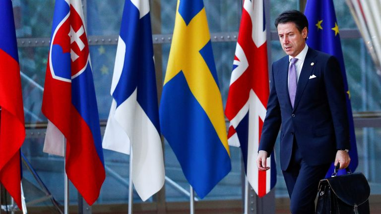 Italian Prime Minister Giuseppe Conte arrives for the European Union leaders summit in Brussels, Belgium October 18, 2018
