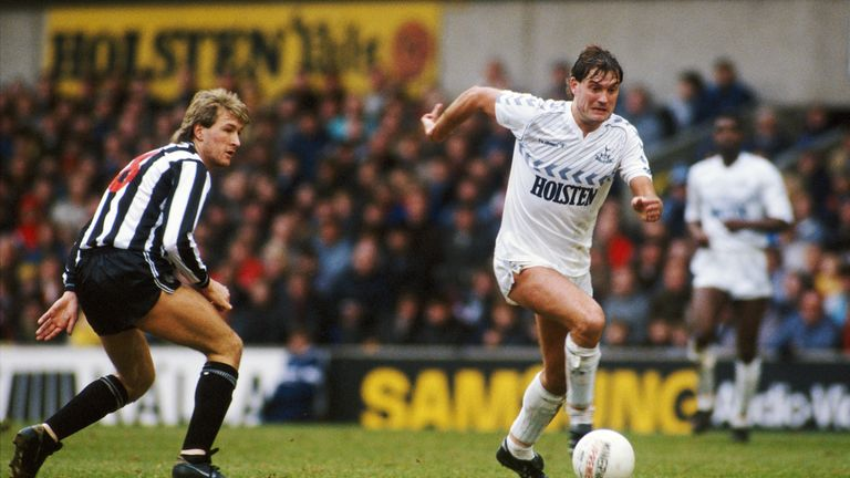 Hotspur player Glenn Hoddle (R) and Andy Thomas of Newcastle United during a 1987 FA Cup match