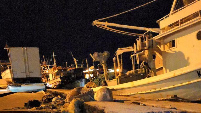 STILLS show earthquake damage in harbour of Greek island of Zakynthos