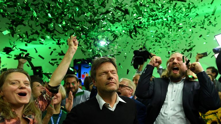 Leaders of the German Green party celebrate