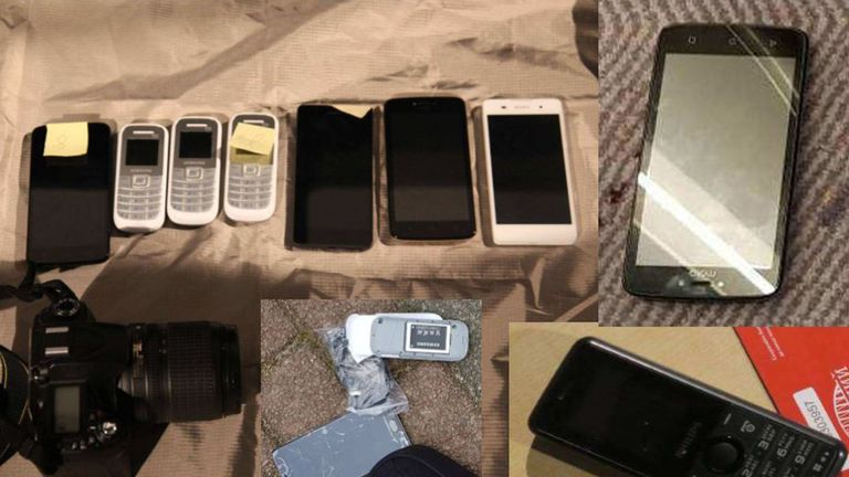 Mobile phones and a camera recovered from four GRU officers who were alleged to have to have hacked the WiFi networks of the Organisation for the Prohibition of Chemical Weapons