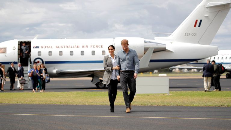 Prince Harry and Meghan, Duchess of Sussex, arrive at Dubbo airport, Australia