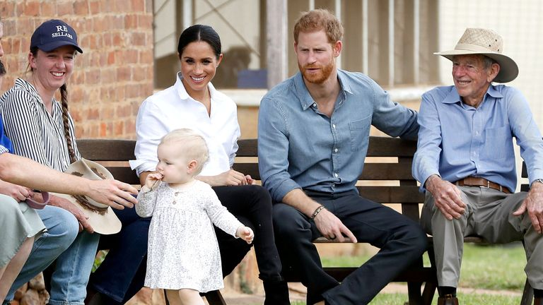 Prince Harry and Meghan visit a local farming family, the Woodleys, in Dubbo