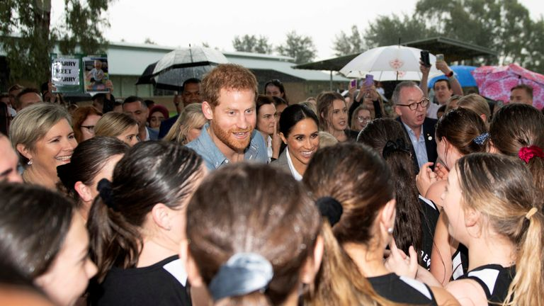 Prince Harry and Meghan, Duchess of Sussex, visit the Clontarf Foundation and the Girls Academy in Dubbo