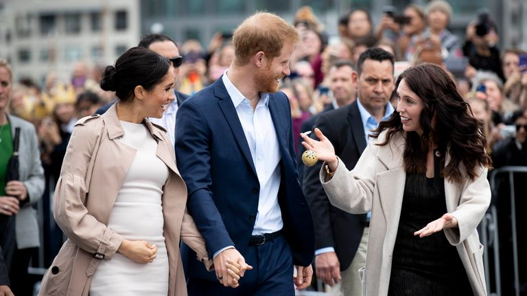The Duke and Duchess of Sussex with Jacinda Ardern