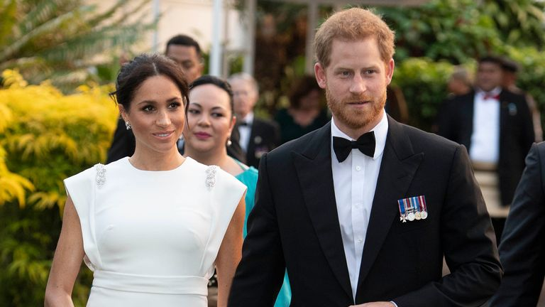 Prince Harry, Duke of Sussex and Meghan, Duchess of Sussex attend a state dinner at the Royal Residence on October 25, 2018 in Nuku'alofa, Tonga