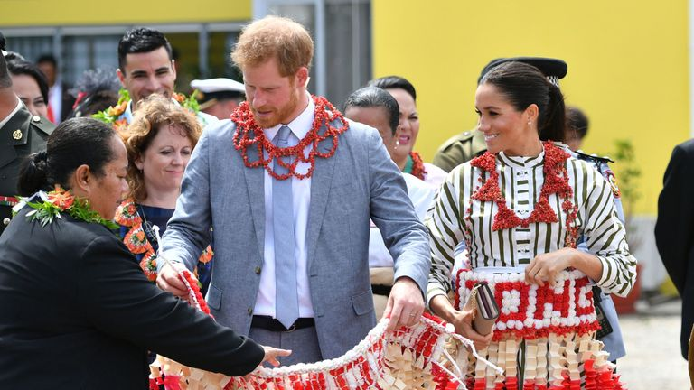 The royal couple visited an exhibition of Tongan handicrafts