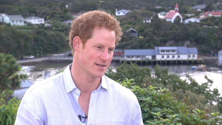Prince Harry on a tour of New Zealand in 2015