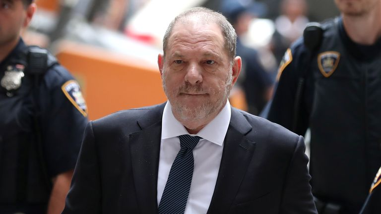 Harvey Weinstein arrives at New York Supreme Court in Manhattan