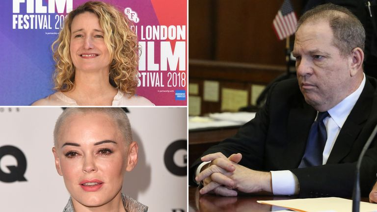 London Film Festival director Tricia Tuttle and Rose McGowan talk to Sky News about Harvey Weinstein