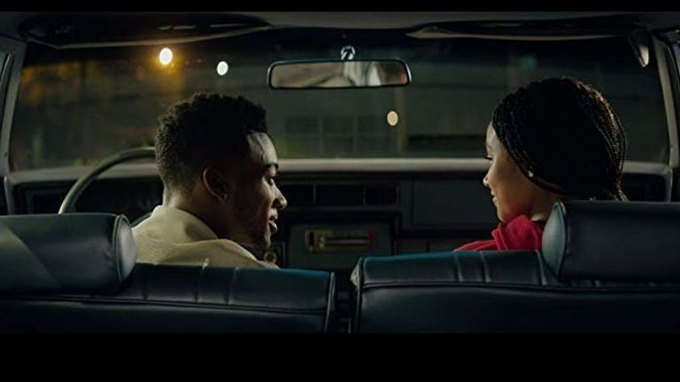 Amandla Stenberg and Algee Smith in The Hate U Give