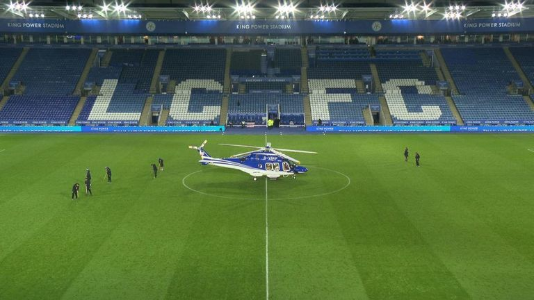 The helicopter shortly before it took off on Saturday evening
