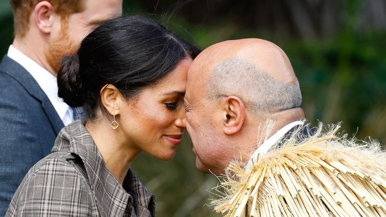 Meghan, Duchess of Sussex performing the traditional greeting the 'Hongi' at the Government House on October 28, 2018 in Wellington, New Zealand