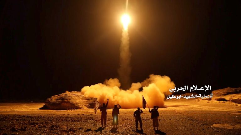 An image from a video Houthi rebels say was the launch of a missile attack in March 2018