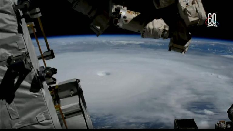 The International Space Station's cameras filmed the storm as the craft passed overhead, just before landfall on Wednesday.