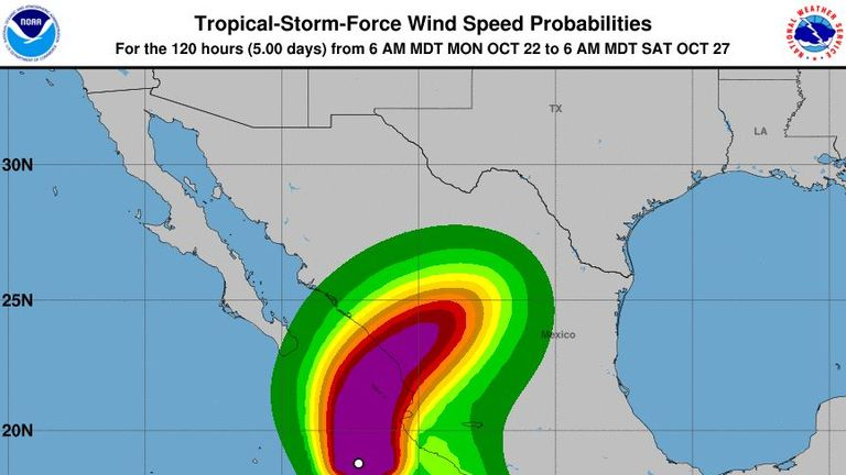 Hurricane Willa is threatening tourist resorts in Mexico. Pic: National Hurricane Center