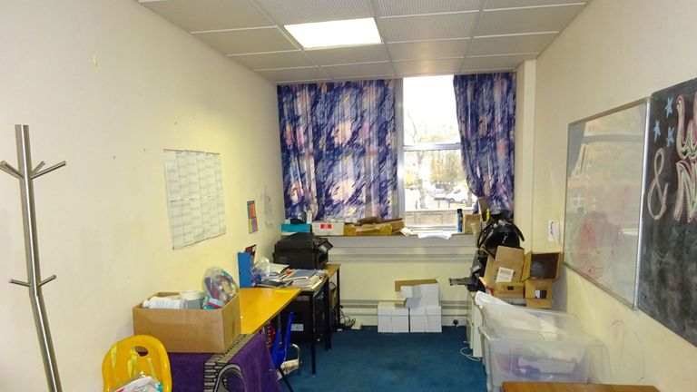 Inside the teachers' room at the school