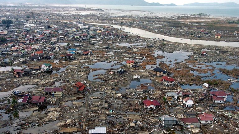 Devastation left after the Boxing Day tsunami in 2004 hit the Indonesian province of Banda Aceh