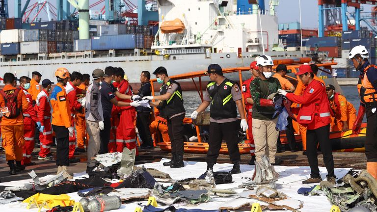 Members of a rescue team bring personal items and wreckage ashore at the port in Tanjung Priok, North Jakarta, on October 29, 2018, after they were recovered from the sea where Lion Air flight JT 610 crashed off the north coast earlier in the day. - A brand new Indonesian Lion Air plane carrying 189 passengers and crew crashed into the sea on October 29, officials said, moments after it had asked to be allowed to return to Jakarta. (Photo by RESMI MALAU / AFP) (Photo credit should read RESMI MAL