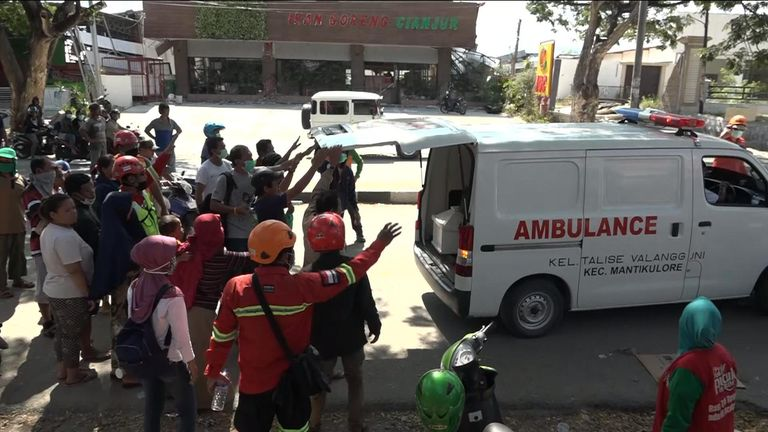 The ambulance seen all around Palu
