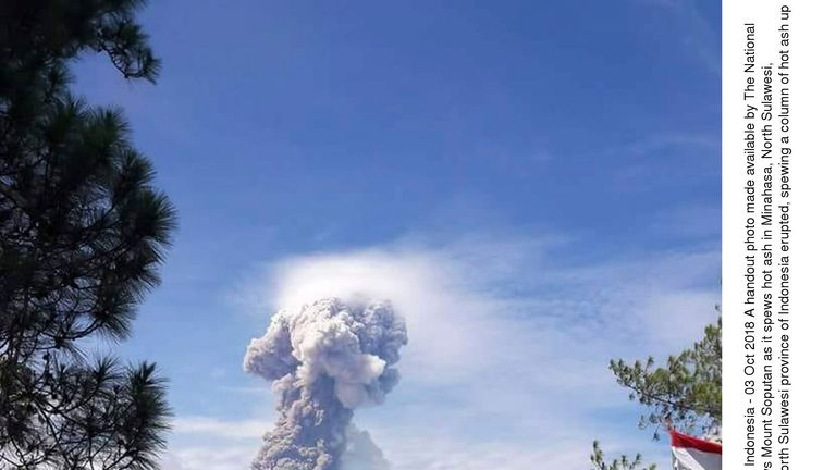 Mount Soputan volcanic eruption in North Sulawesi, Minahasa, Indonesia