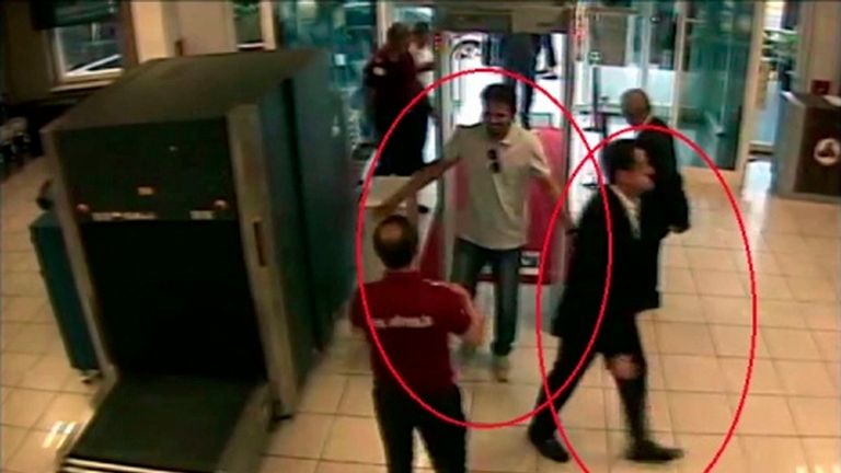 Surveillance camera footage of a man previously seen with Saudi Crown Prince Mohammed bin Salman's entourage at Ataturk Airport in Istanbul. Writer Jamal Khashoggi disappeared at the Saudi consulate in Istanbul on the same day
