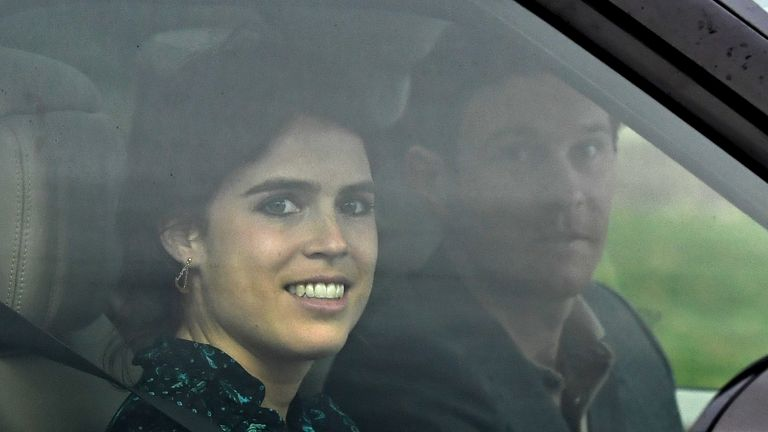 Princess Eugenie grinned as she left the rehearsal