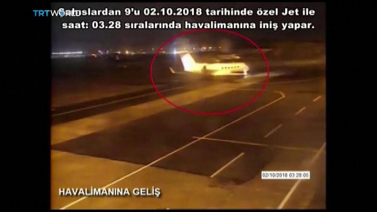 CCTV footage of private jet carrying nine Saudis said to be linked to Jamal Khashoggi's disappearance