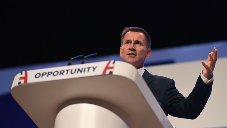 Foreign Secretary Jeremy Hunt speaks during the annual Conservative Party Conference